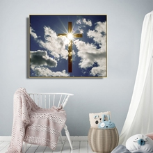 Laeacco Sunshine Cross Christian Canvas Painting Poster And Prints Home Decor Wall Art Picture for Living Room Church Decoration laeacco sea marine fish sunshine posters and prints canvas painting wall art picture home decor living room decoration