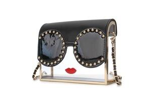 Image 2 - Fashion Transparency Acrylic Box Shape Red Lips Rivet Design Metal Crossbody Messenger Bag Women Handbags Chain Purse Flap Bolsa