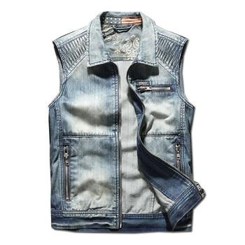 Fashion Mens Street Denim Vest With Embroidery Streetwear Patchwork Sleeveless Jeans Jacket Waistcoat