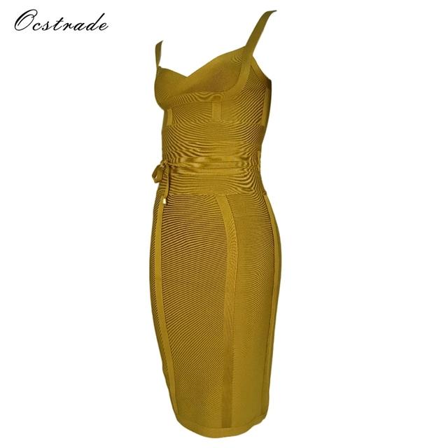 Ocstrade Women Bandage Dress 2017 Rayon Sleeveless Summer New Arrivals Sexy Deep v Neck Ginger Bodycon Bandage Dress Club Party