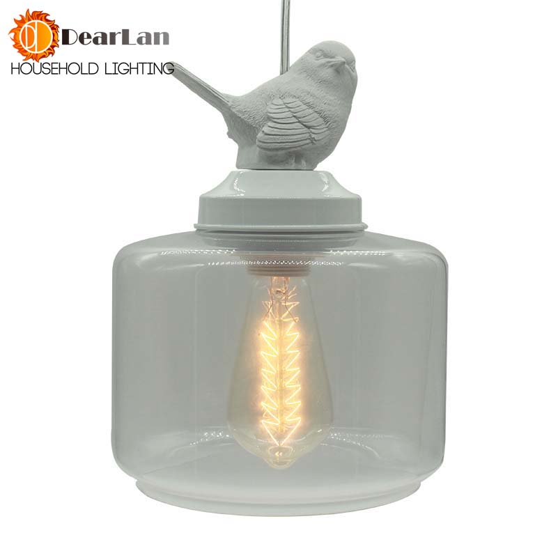 Vintage Lamp Glass Shade Bird Pendant Lights/Droplight Pendant Lamps With E27 Lights For Living Room/Bedroom/Living Room(DA-50) fumat stained glass pendant lamps european style baroque lights for living room bedroom creative art shade led pendant lamp