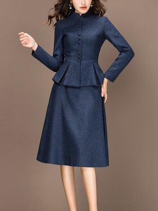 2 piece outfits for women 2020 Fashion Autumn Winter Two Piece Set ELegant Office Lady Suit Plus Size 3XL casaco feminino LX439 - 4