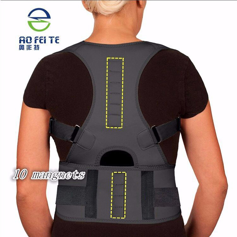 Spine Support Belt for Men Women New Magnetic Posture Corrector Neoprene Back Corset Brace Straightener Shoulder Back Belt Black