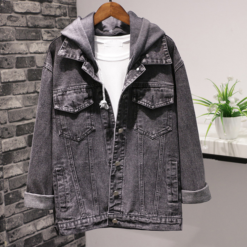 Spring Autumn New Women Black Loose Hooded Denim   Jackets   Single Breasted Batwing sleeve Casual Jeans   Jacket   Female   Basic   Coats