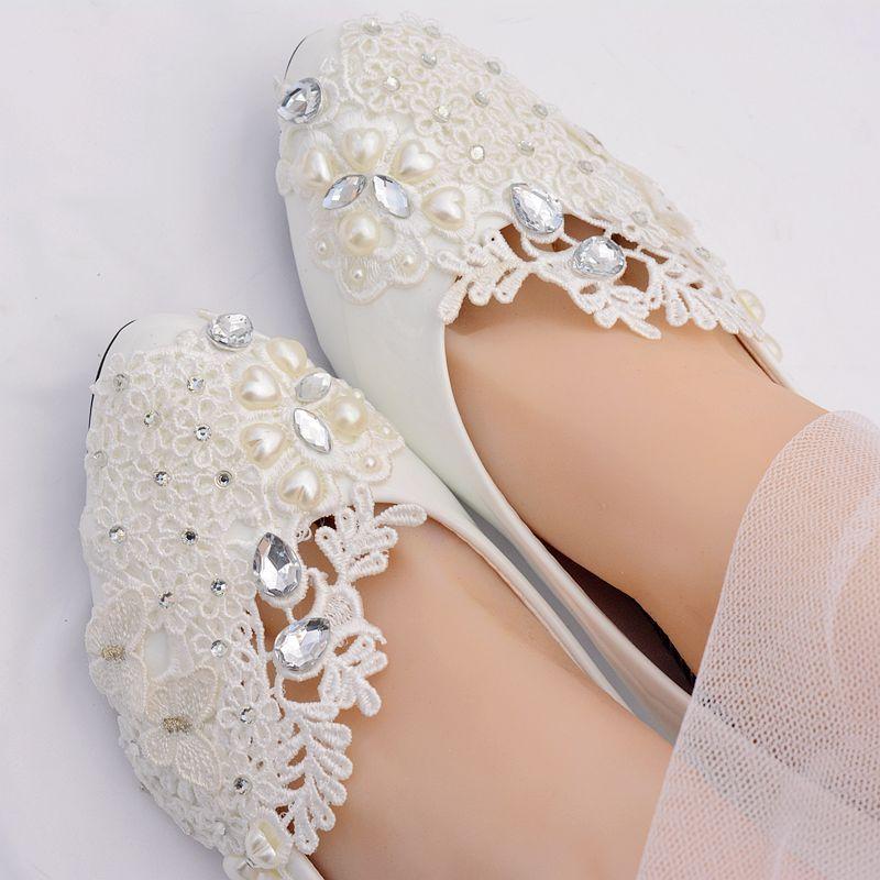 Perles ivoire 5 cm talon moyen chaussures de mariage mariée HS381 dentelle applique cristal décoration mariée demoiselle d'honneur robe de soirée pompe