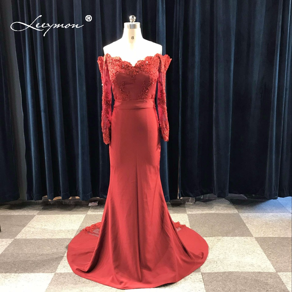 Leeymon Long Sleeves Mermaid   Bridesmaid     Dress   2017 Plus Size Burgundary Maid Of Honor Off shoulder Wedding Party   Dress