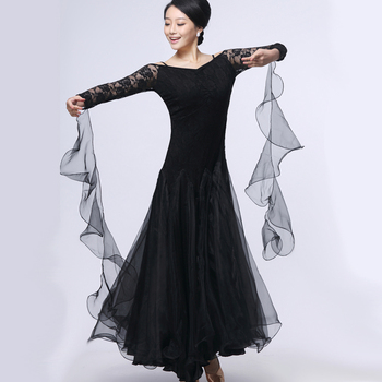 New Fashion Modern Dance Competition Dress Ballroom Dance Clothing Lace Stitching Big Swing  Dance Waltz Costumes