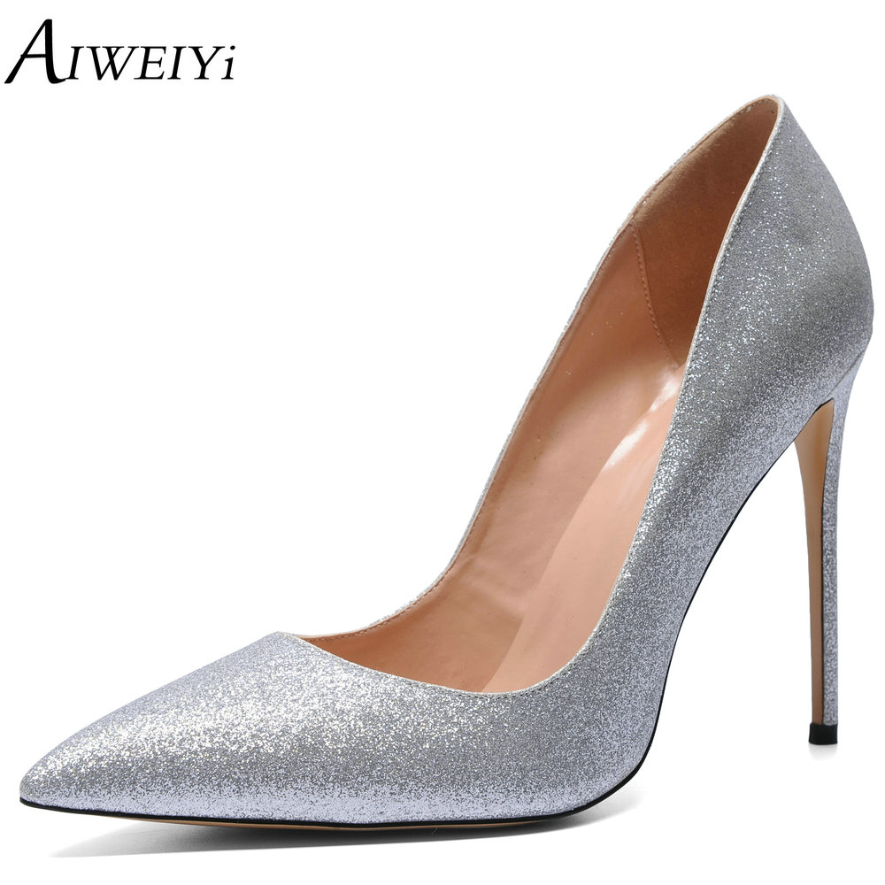 AIWEIYi Women High Heels Prom Wedding Shoes Ladies Gold Silver Glitter Rhinestone Bridal Shoes Stiletto High Heel Party Pumps luxury brand crystal patent leather sandals women high heels thick heel women shoes with heels wedding shoes ladies silver pumps