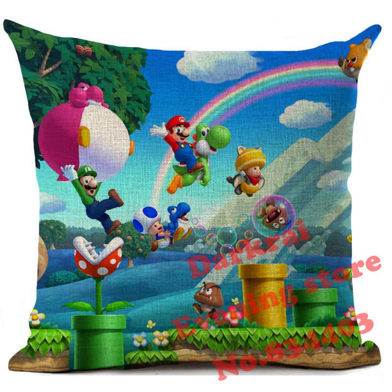 Супер Марио для подушек из хлопка и льна с персонажами из мультфильмов с принтом Декор диванные подушки Гостиная Диван украшения дома Подушка Чехол