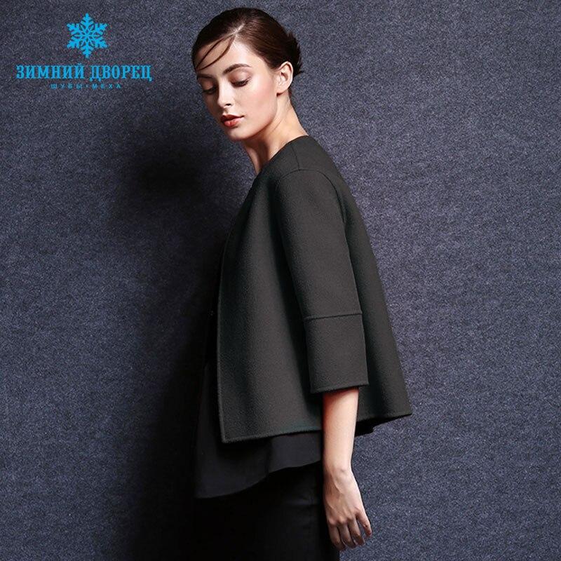 Contenant En D'hiver Green Laine Dark Manteau 100 Femme De Court Femmes Populaire D'o La Mode Cachemire Femelle cou qnxvgF7T