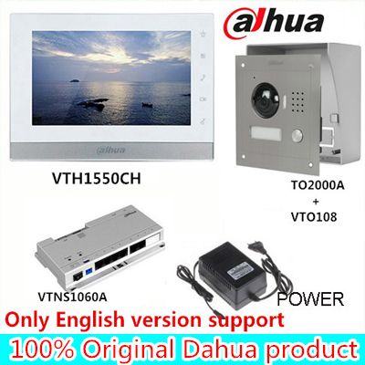 Original 7 Inch Touch Screen Dahua VTH1550CH Color Monitor with TO2000A outdoor IP Metal Villa Outdoor Video Intercom sysytem 7 inch video doorbell tft lcd hd screen wired video doorphone for villa one monitor with one metal outdoor unit night vision