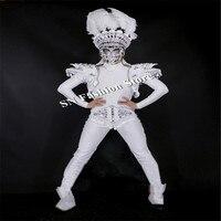 CC96 белый Броня форма мужчин Танцевальный костюм Бальные маска этап певец шоу носит Одежда подиум модель клуб Производительность вечерние DJ