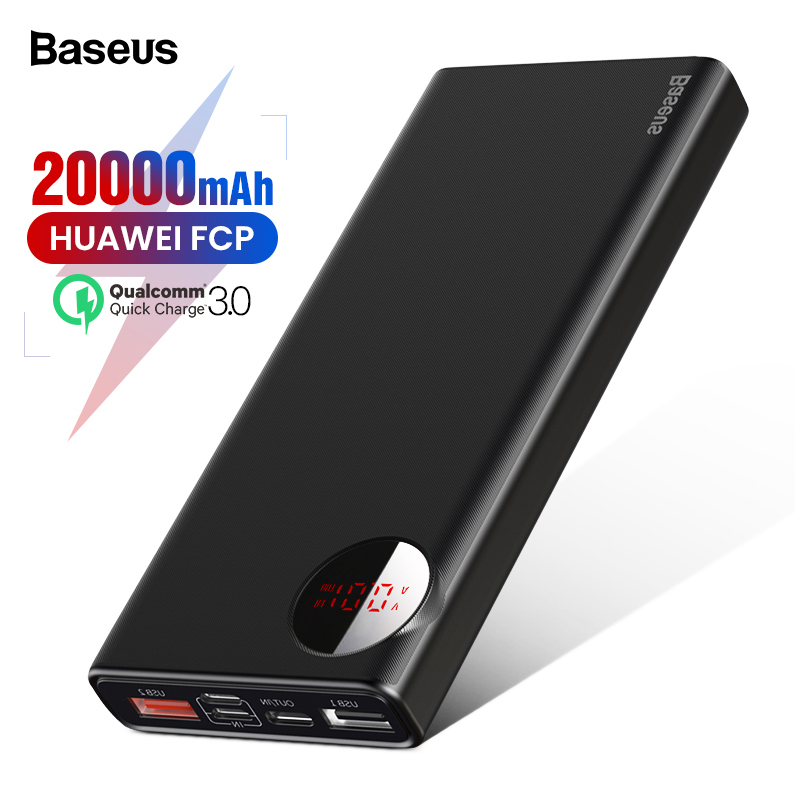 US $26.22 32% OFF|Baseus 18W 20000mAh Power Bank USB Type C PD + QC3.0 Fast Charge Pover Bank For iPhone Xiaomi Huawei External Battery Powerbank-in Power Bank from Cellphones & Telecommunications on Aliexpress.com | Alibaba Group