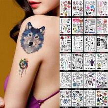 Multi-стиль dreamcatcher taty tatuagem поцелуй волк тату моделей боди-арт цветные листов