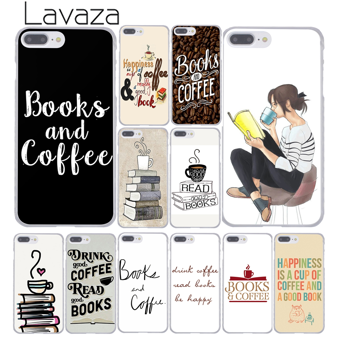 Lavaza Books And Coffee Inverted Mck Print Hard Coque Shell Phone Case for Apple iPhone 8 7 6 6S Plus X 10 5 5S SE 5C 4 4S