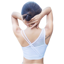 Mesh splice Sexy Sports Bra for Women Running Fitness Athletic Vest Sport Bra Hollow Out Yoga Top Push Up Underwear for Woman