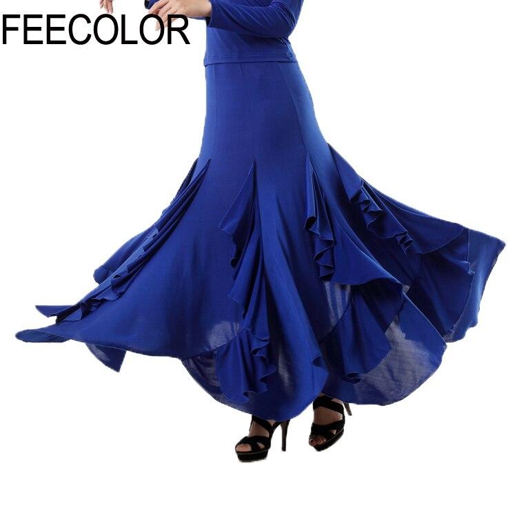 FEECOLOR robe de danse élégant lait soie salle de bal valse danse longue balançoire jupe Performance Costume S-3XL