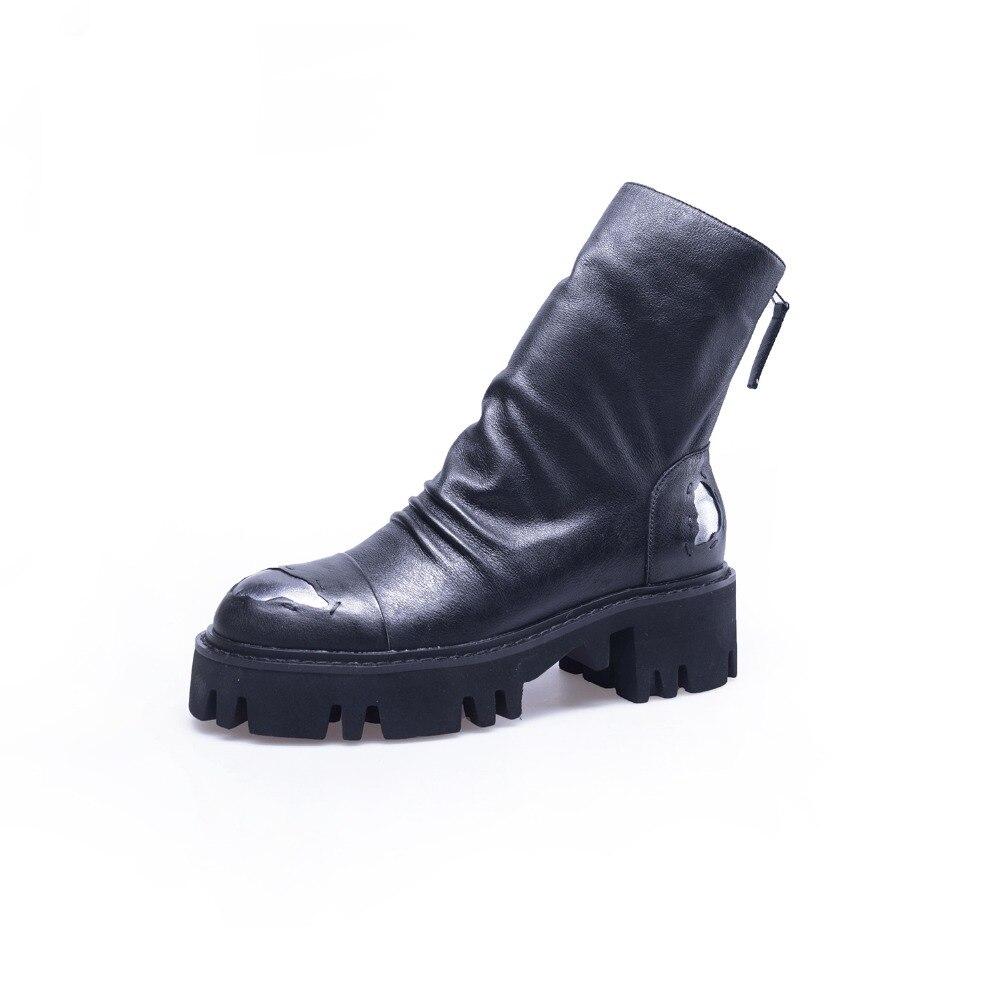 Glissière Bottes Cuir De Classiques Chaussures Orteil Courtes Mode Femmes  2019 Noir Concise Rondes En Mature Hiver BPw7xtRqt d10b9d09cdde