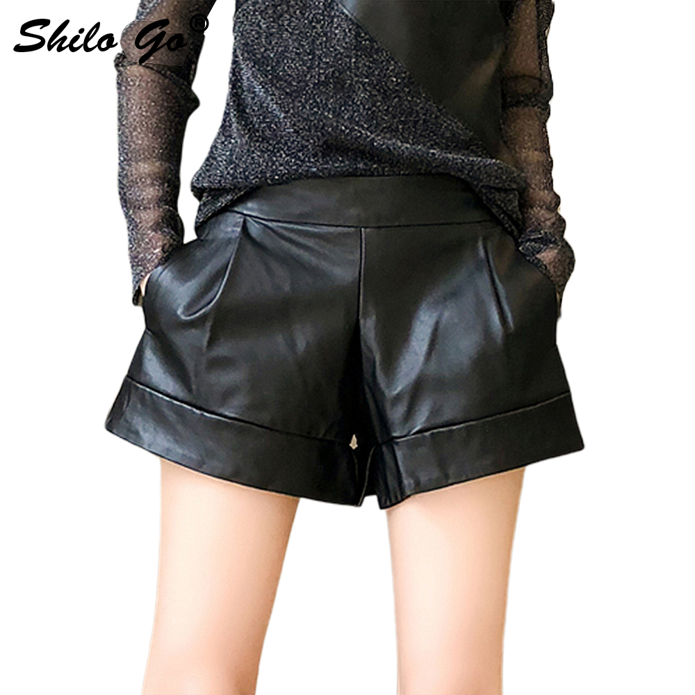 Leather Shorts Womens Spring Fashion Sheepskin Genuine Leather Shorts Stretch High Waist Side Pocket Concise Wide Leg Shorts