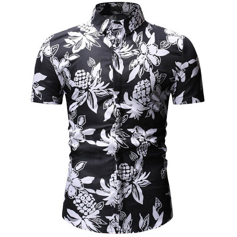 2019 New Spring Summer Male Floral Print Dress Shirts Mens Shirt Slim Fit Ethnic Flowers Short Sleeve Casual  Fashion Tops Men