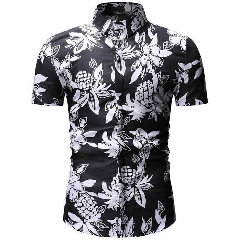 2019 새로운 봄 여름 남성 꽃 프린트 드레스 셔츠 남성 셔츠 슬림 피트 민족 꽃 짧은 소매 캐주얼 패션 탑 남성