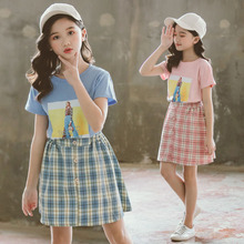 Children Clothing Sets 2019 Summer Girls Clothes Cotton Short Sleeve T-shirts+Plaid Dress 2PCS Kids Clothes 4 6 8 10 12 Years clothing sets children baby 2pcs clothes girls summer t shirts dress 2pcs girls clothes for age 2 3 4 5 6 years kids sport suit