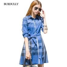 BURDULLY England Dresses Large Sizes Elegant 2017 Women High Quality Half Sleeve Cotton Plaid New Autumn Dress Vintage Clothing