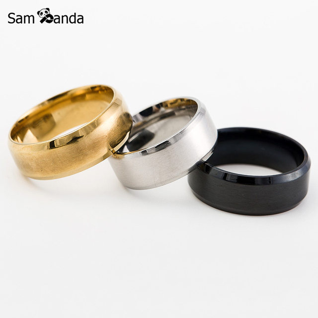 New 8MM European Style Stainless Steel Ring For Men Jewelry Titanium Silver Blac