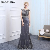 Gray Mermaid Evening Dresses With Stunning Beading See Through Scoop Neck 2018 New Elegant Floor Length
