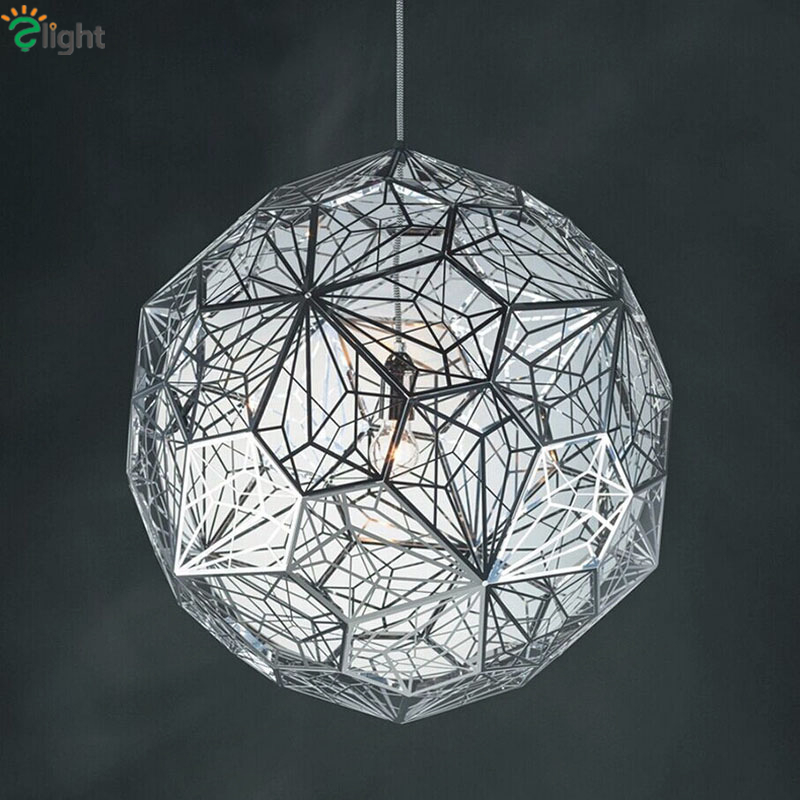 Modern Plated Steel Globe Ball Spark Luminaria Led Pendant Light Chrome/Gold/Copper Color Droplight For Dining Room