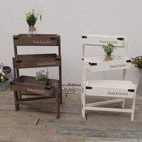 Large American rustic wood shelves Antique brief flower pot holders Creative bar coffee house shelf wood shelves home garden