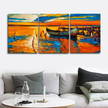 Laeacco Abstract Sea Sunrise Boat Posters and Prints Nordic Living Room Home Decoration Paint On Canvas Painting Wall Artwork
