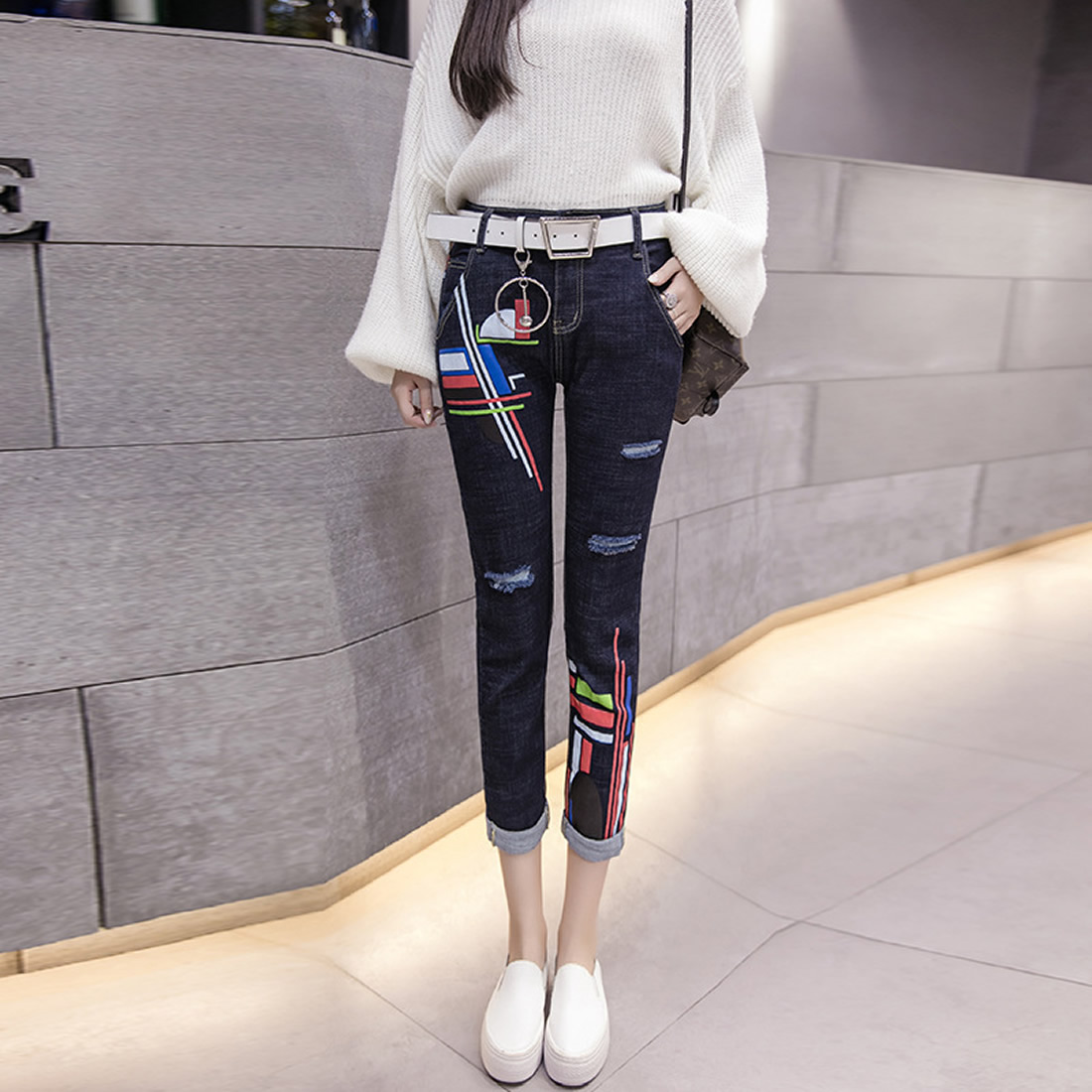 Skinny Jeans Female Ripped Jeans For Women Pencil Pants Summer Blue Denim Hole Pants Ladies Pantalones Mujer Jeans summer boyfriend jeans for women hole ripped white lace flowers denim pants low waist mujer vintage skinny stretch jeans female