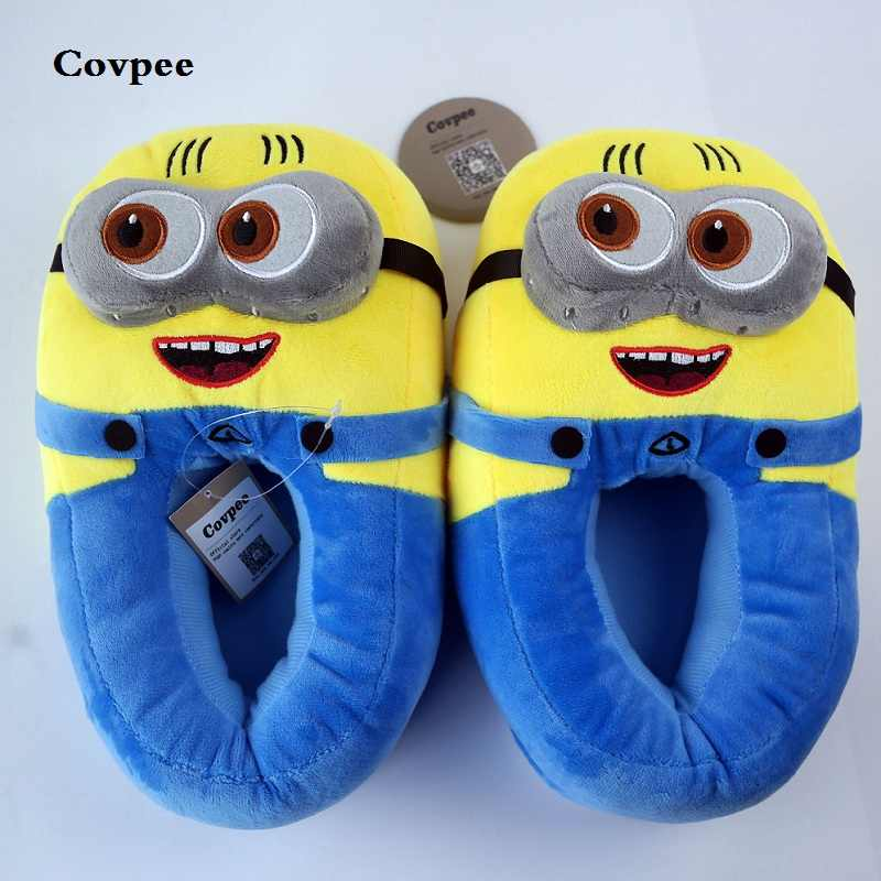 3D asseclas chinelos mulher chinelos Inverno Quente Despicable Minion Stewart forma Shoes Plush Toy Slipper Tamanho Da Boneca Casa