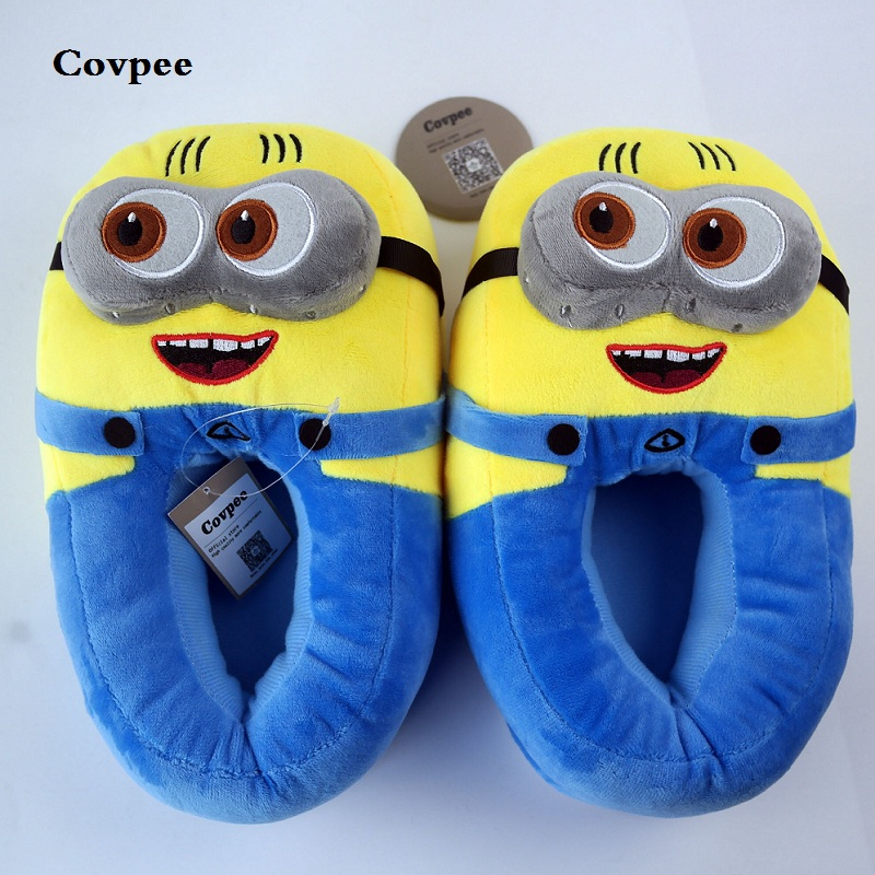 3D minions sandal wanita Winter Winter slippers Despicable Minion Stewart Figure Shoes Plush Toy Home Slipper One Size Doll