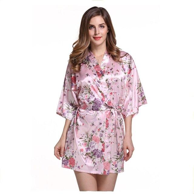 Pink Women Plain Silk Satin Robes Bridal Wedding Bridesmaid Bride Gown Kimono Robe Free shipping wholesale Retail