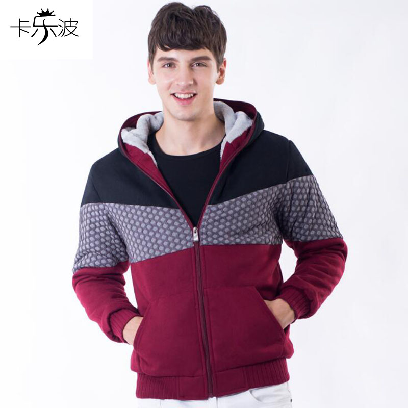 kalebo New autumn and winter mens thick plus cashmere long sleeve hooded jacket loose casual large size mens fashion clothing