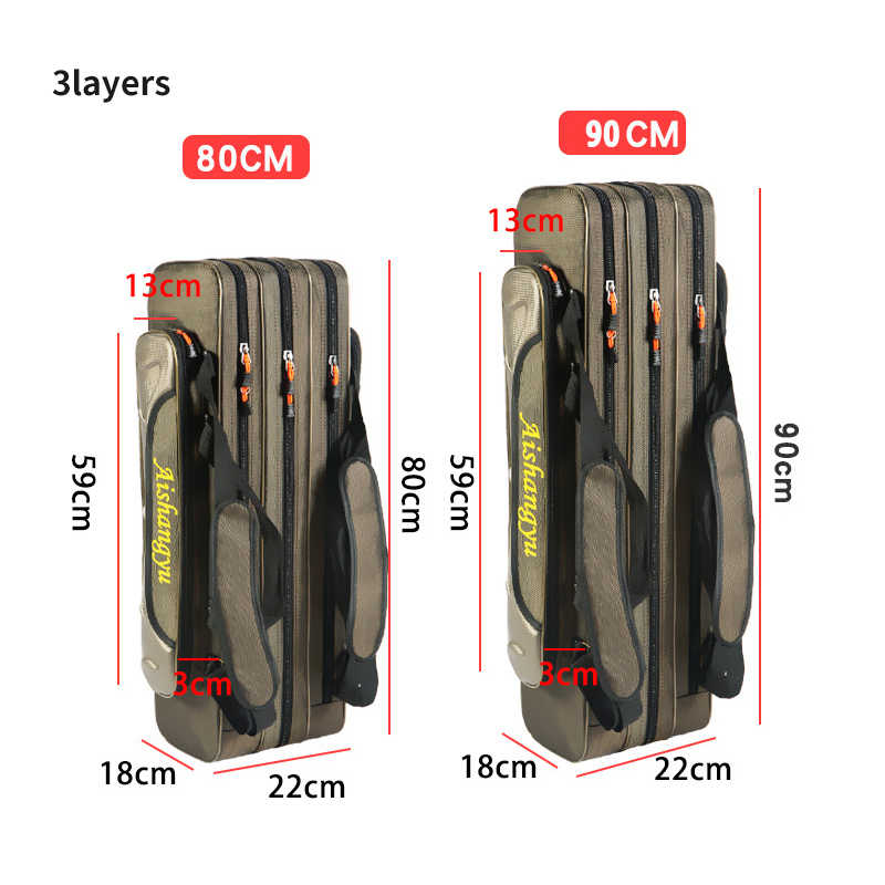 Sac de pêche Portable multifonction Pesca toile 80/90/120CM canne à pêche 3 couches 4 couches voyage transporter pêche moulinet sacs XA111G