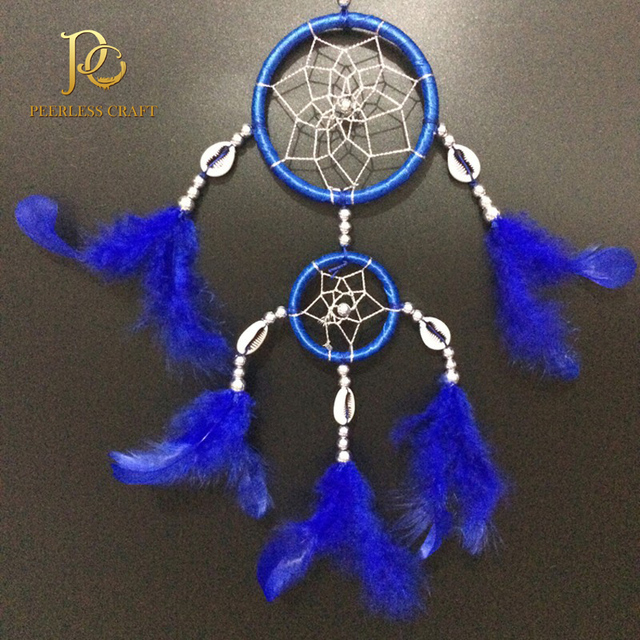 FC40 Double Rings Royal Blue Cherokee Indian Dream Catchers Feather Fascinating Cherokee Indian Dream Catcher