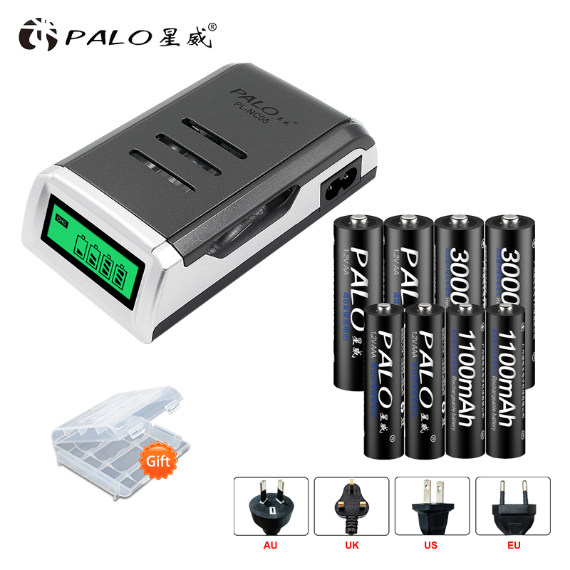 цена на PALO 4 Slots LCD Display Screen Smart Intelligent Battery Charger bateria For AA AAA batteria +AA AAA rechargeable batteries
