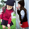 2017 New Girls T Shirt Thicken Fleece Wing Sweatshirt For Girls Kids Tops Tees Fashion Baby Children's Long Sleeve T Shirts
