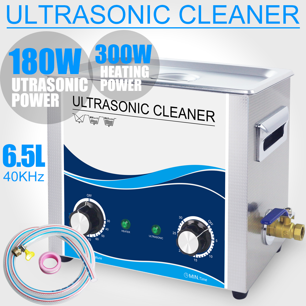 все цены на 180W Ultrasonic Cleaner Bath 6.5L Heater Timer Ultrasound Industrial Cleaning Machine Gun Bullets Lab Optical Dental Glassware онлайн