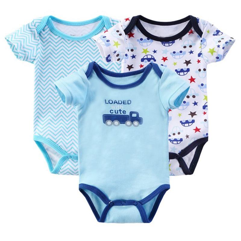 ec24c787 3 piunids/lote mamelucos para bebé Mono para niño recién nacido verano niña  Ropa infantil conjunto de manga corta Ropa Bebe niñas ropa