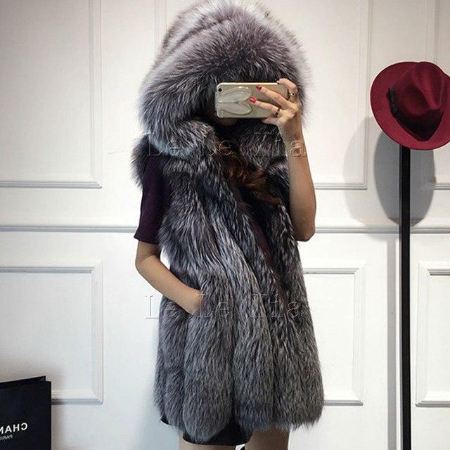2016 Весной новые женщины с капюшоном шуба чернобурка имитация меховой жилет плюс размер дамы лиса шубу