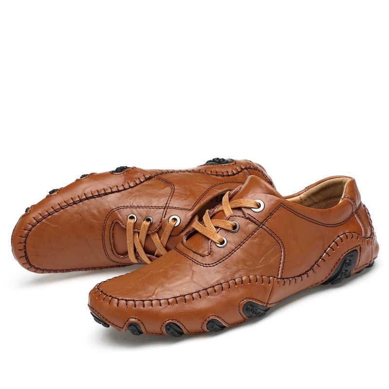 2019 Nieuwe Schoenen Mannen Casual Luxe Loafers Mocassins Licht Comfortabele Zachte Flats Mannelijke Rijden Sneakers Big Size 38- 48