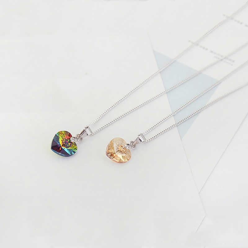 BAFFIN Mini Herz Halsketten Anhänger Kristalle Von Swarovski Für Frauen Mädchen Geschenk Silber Farbe Kette Kinder Schmuck Dekorationen