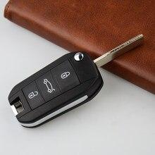 OkeyTech оригинальный автомобильный Корпус ключа для Peugeot 307 307S 306 407 408 607 3 кнопки дистанционного флип ключ Замена чехол Крышка Брелок Uncut очистит...