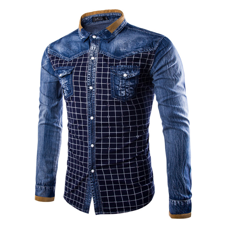 HOCO 2018 mens washed denim checked color matching long sleeve shirt long sleeve shirts