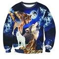Мода прохладный животных Волк Толстовка Мужчины Женщины печатные 3D Galaxy волк повседневная Длинные рукава О-Образным Вырезом пуловер бесплатная доставка