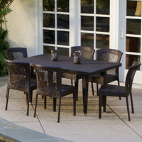 Dana Point 7 pc Outdoor Patio Furniture Brown Wicker Dining Set